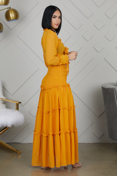 Honey Mustard Skirt Set- FINAL SALE