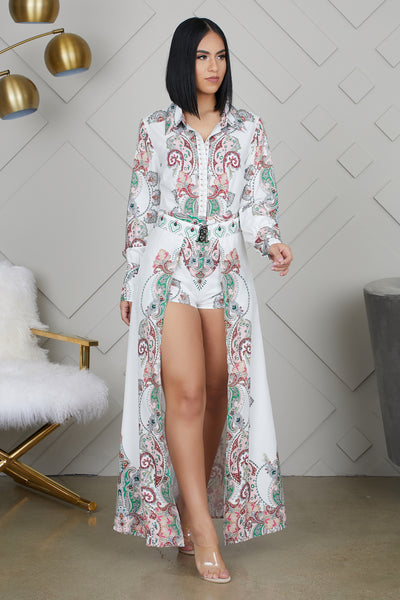 Paisley Print Romper Dress