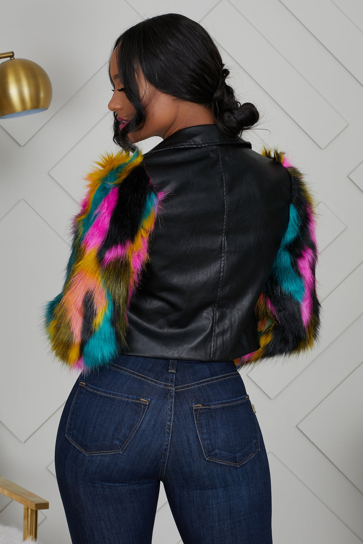 Multi Color Faux Fur Leather Jacket