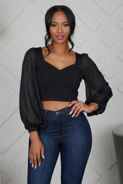SWEETHEART LONG SLEEVE CROP TOP - FINAL SALE
