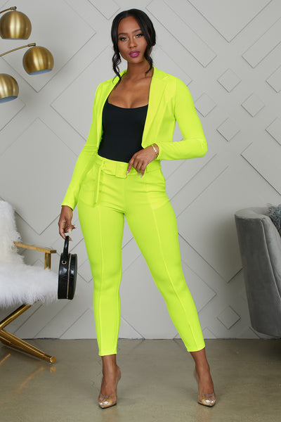 NEON YELLOW SUIT SET