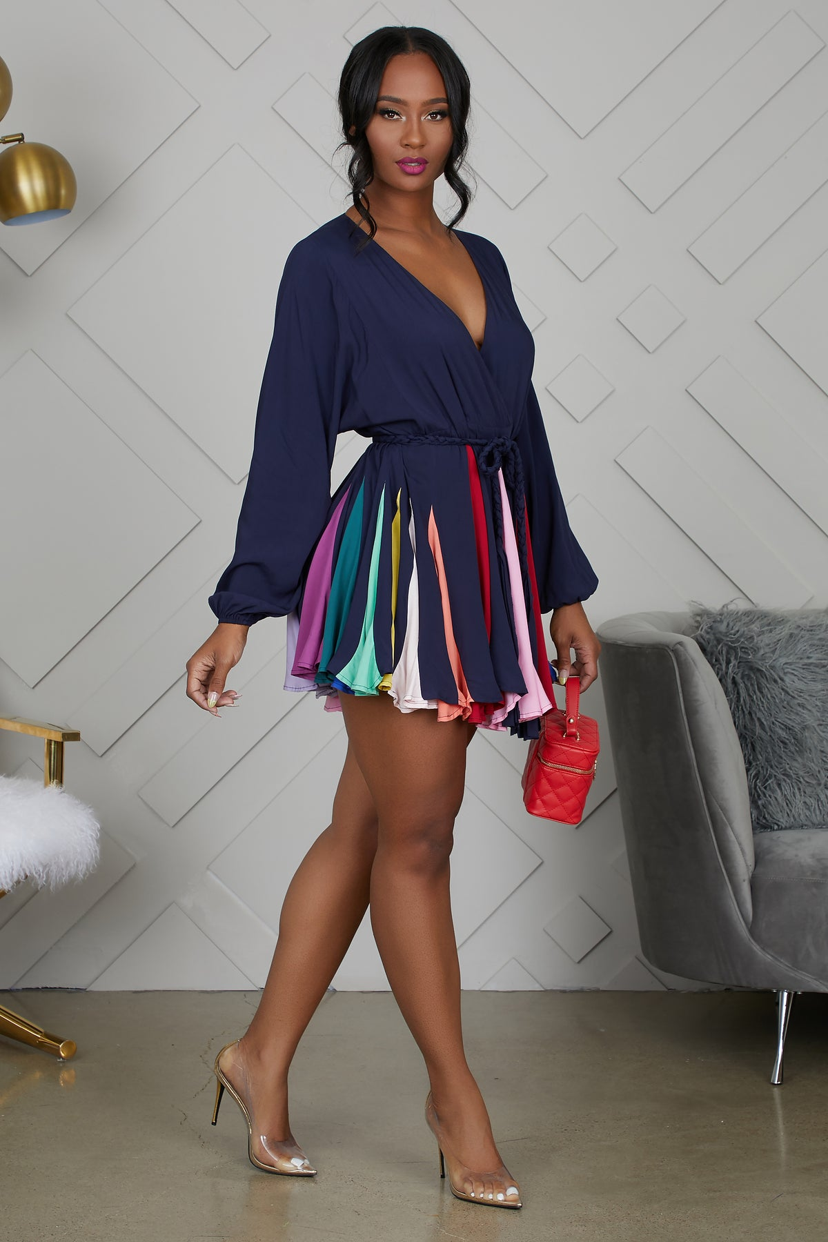 Take A Twirl Multi Color Dress