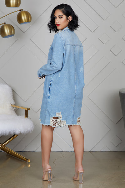 Distressed Denim Boyfriend Shirt Dress