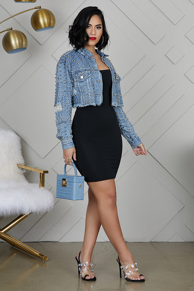 Spike & Stud Denim Crop Jacket