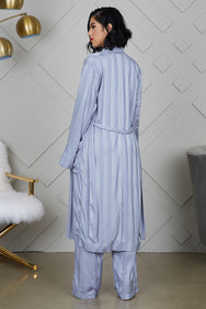 Silky Flow Kimono & Pants Set (Blue)- FINAL SALE