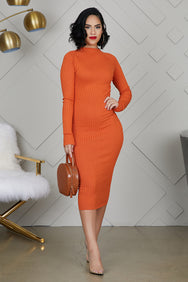 Fitted Knit Midi Dress (Orange)