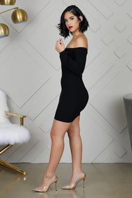 Balloon Sleeve Knit Dress (Black)