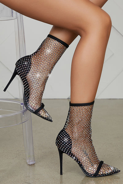 Florence Blinged Out Net Bootie (Black)- FINAL SALE