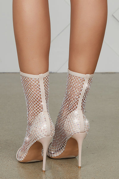 Florence Blinged Out Net Bootie (Nude)