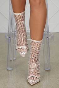 Florence Blinged Out Net Bootie (Nude)- FINAL SALE