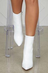 White Faux Leather Booties