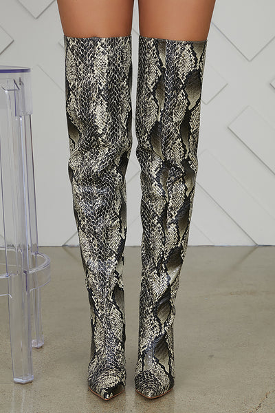 Bloom Thigh High Snake Skin Boots