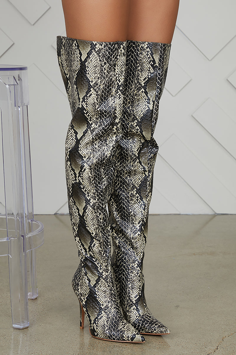 Bloom Thigh High Snake Skin Boots- FINAL SALE