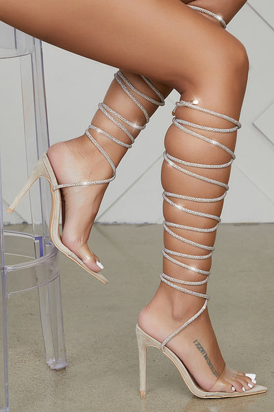 Brandy Lace Up Heel (Beige)- FINAL SALE