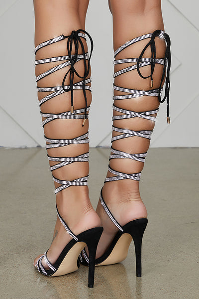 Long Hoffman Lace Up Rhinestone Heels (Black)