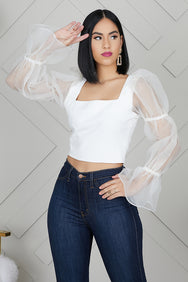 Tulle Statement Top (White)