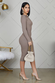 Gold Button Ribbed Midi Dress (Taupe)