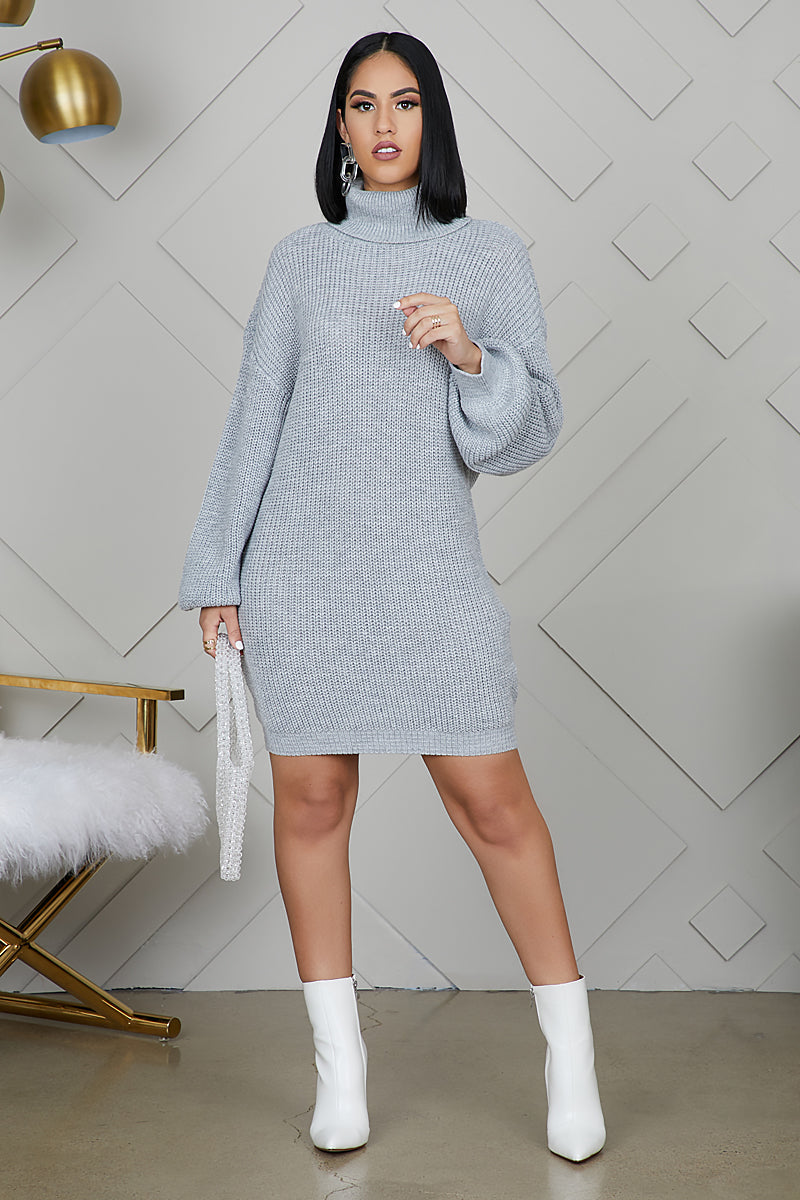 Oversized Turtleneck Sweater Dress (Grey)