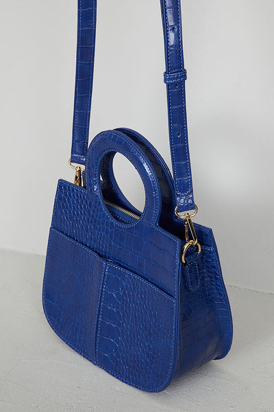 Blue Faux Croc Top Handle Bag
