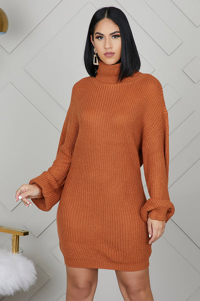 Oversized Turtleneck Sweater Dress (Rust)