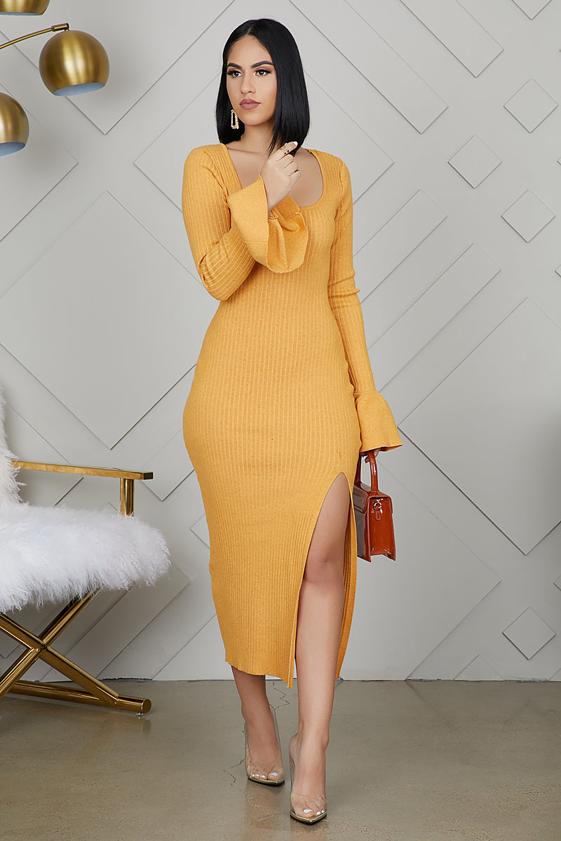 Bell Sleeve High Slit Ribbed Dress (Golden Yellow)