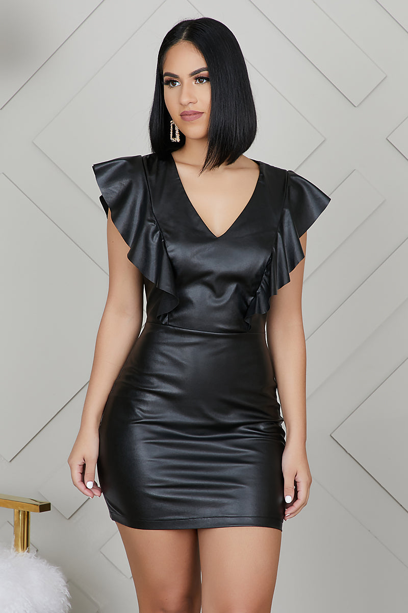 Faux Leather Mini Dress by Lilly's Kloset