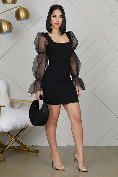 Dramatic Sleeves Black Dress