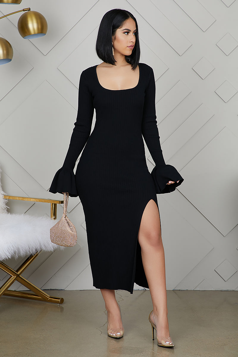 Bell Sleeve High Slit Ribbed Dress (Black) by Lilly's Kloset