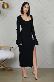 Bell Sleeve High Slit Ribbed Dress (Black)