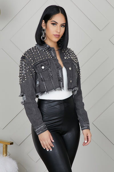 Cropped Spike Black Denim Jacket
