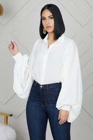 Balloon Sleeve Button Up Top (Off White)- FINAL SALE