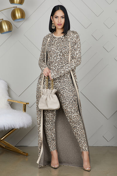 Leopard Jumpsuit Cardigan Set