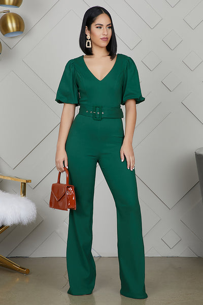 Hunter Green Flare Jumpsuit