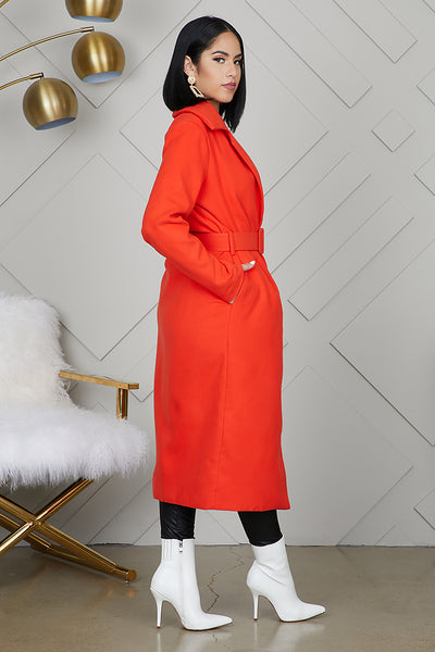 Long Wrap Coat (Red/Orange)