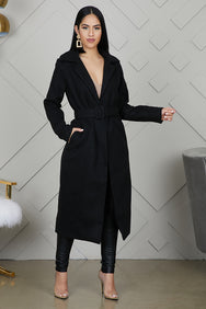 Long Wrap Coat (Black)- FINAL SALE