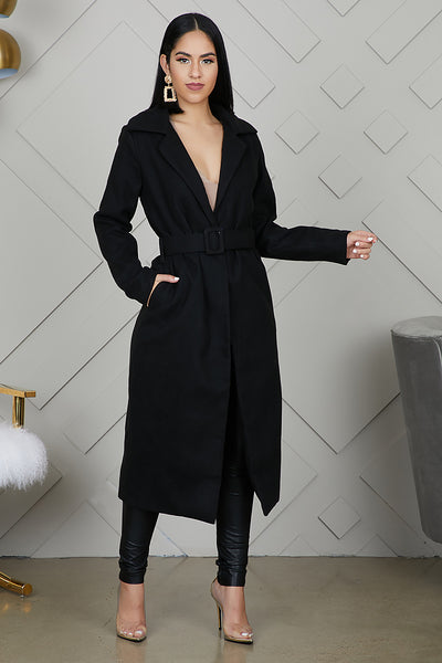 Long Wrap Coat (Black)
