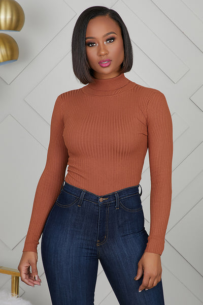 Turtleneck Ribbed Bodysuit (Rust)