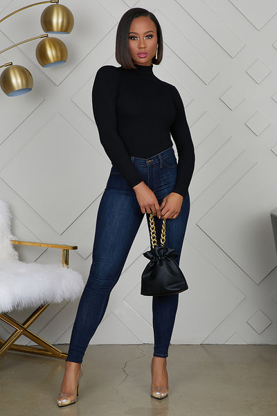 Turtleneck Ribbed Bodysuit (Black)