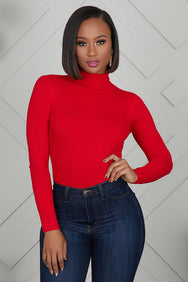 Turtleneck Ribbed Bodysuit (Red)- FINAL SALE