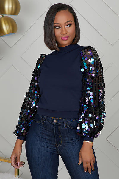 Navy Blue Sequins Top