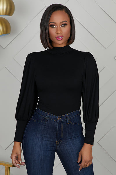 Balloon Sleeve Bodysuit (Black)- FINAL SALE