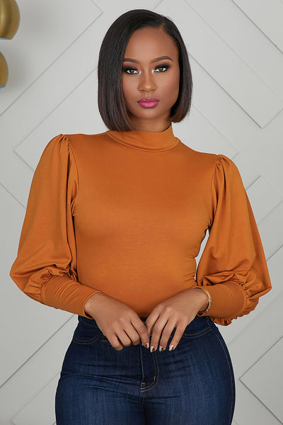 Balloon Sleeve Bodysuit (Cognac)