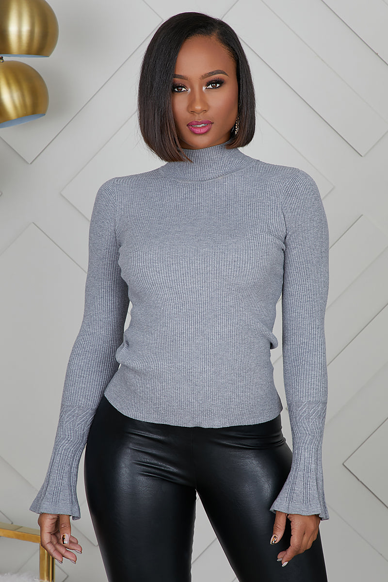Bell Sleeve Knit Top (Grey)- FINAL SALE