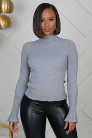 Bell Sleeve Knit Top (Grey)