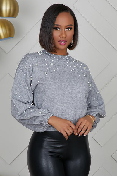 Pearl Balloon Sleeve Sweater (Grey)