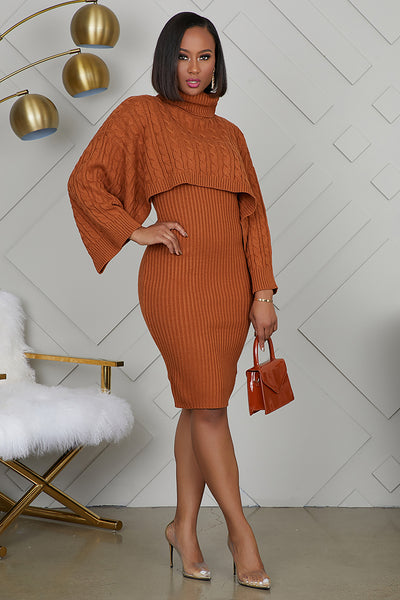 Poncho Sweater Dress (Rust)