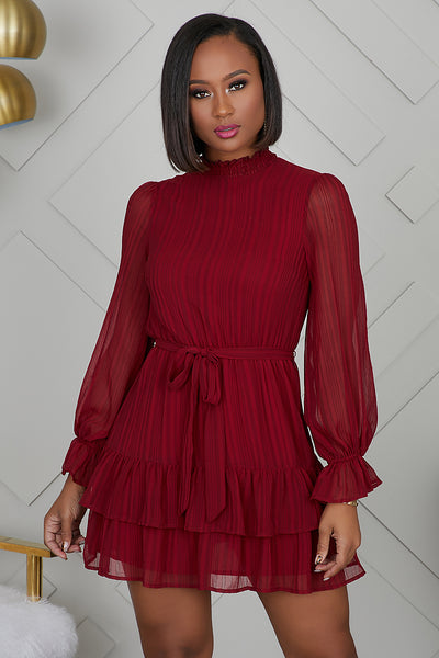Ruffle Up Wine Dress