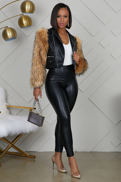 Fur Sleeve Leather Jacket