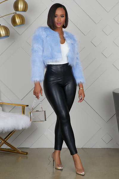 Michigan Crop Faux Fur Jacket (Ice Blue)