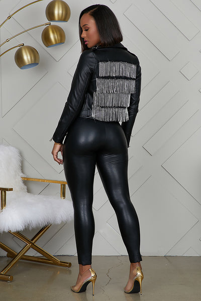 Rhinestone Fringe Moto Leather Jacket